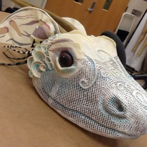 Second year grad Denise Dietrich created this dragon head mask using a combination of varaform, Wonderflex, and stiffened felt.